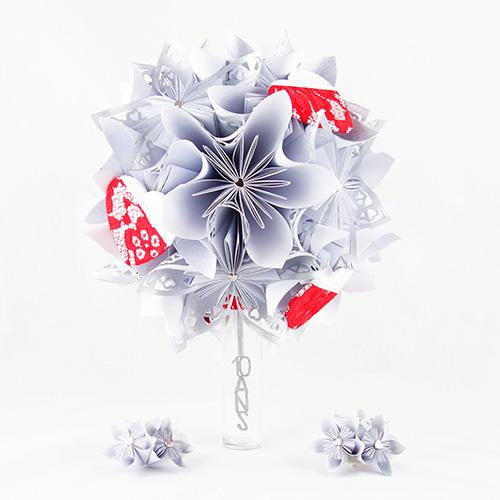 bouquet renouvellement voeux personnalise papier origami