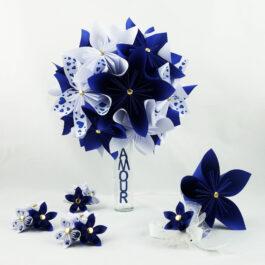 Bouquet mariée bleu et accessoires