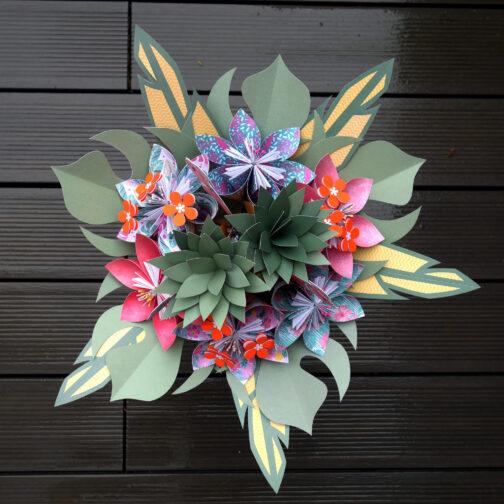 bouquet de mariée exotique tropical en papier origami
