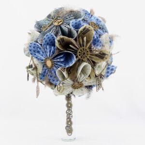 bouquet mariee personnalisé rond en papier origami bijoux