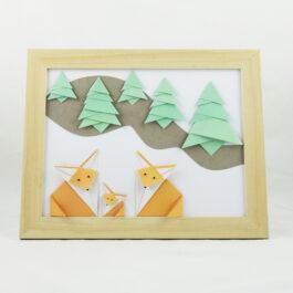 Cadre renard bebe en origami