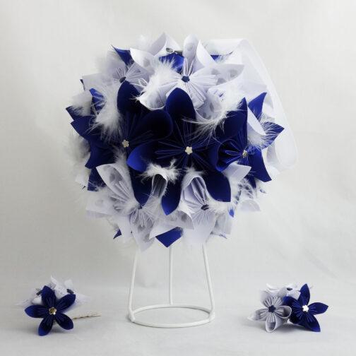 bouquet mariée boule bleu