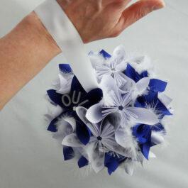 Bouquet de mariée boule bleu personnalisé
