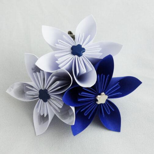 boutonniere mariage bleu