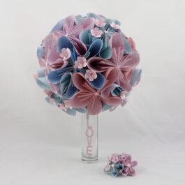 Bouquet de mariée personnalisé en papier origami thème japon-fleurs de cerisier + boutonnière : Réservé Maureen