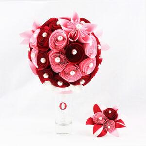 bouquet mariee papier origami rose rond