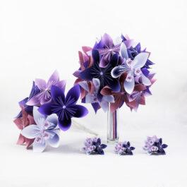 Bouquet de mariée personnalisé en papier origami thème japon-origami + accessoires