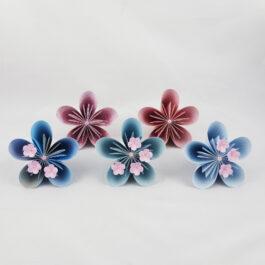 Acompte bouquet de mariée personnalisé en papier origami thème japon-fleurs de cerisier + accessoires : Réservé Maureen