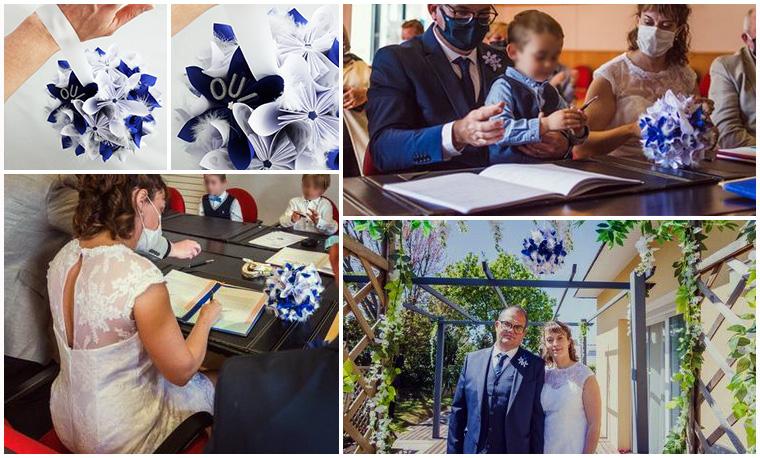 avis prestataire mariage bouquet bleu blanc rond