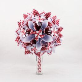 Bouquet de mariée guinguette rouge et blanc champêtre imprimé vichy