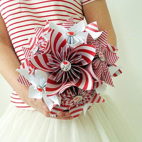 bouquet demoiselle d'honneur rouge et blanc