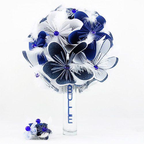 bouquet mariee bleu papier origami mariage