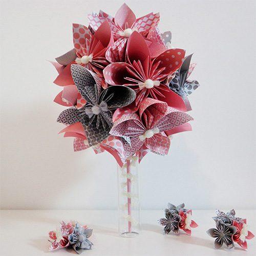 bouquet mariee rose et gris