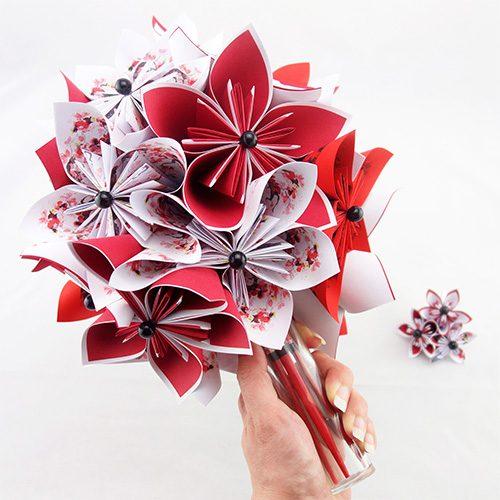 bouquet mariee rouge et blanc