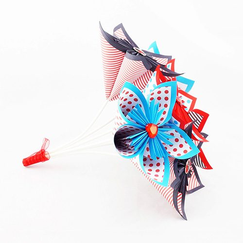 bouquet origami mariage rock rockabilly